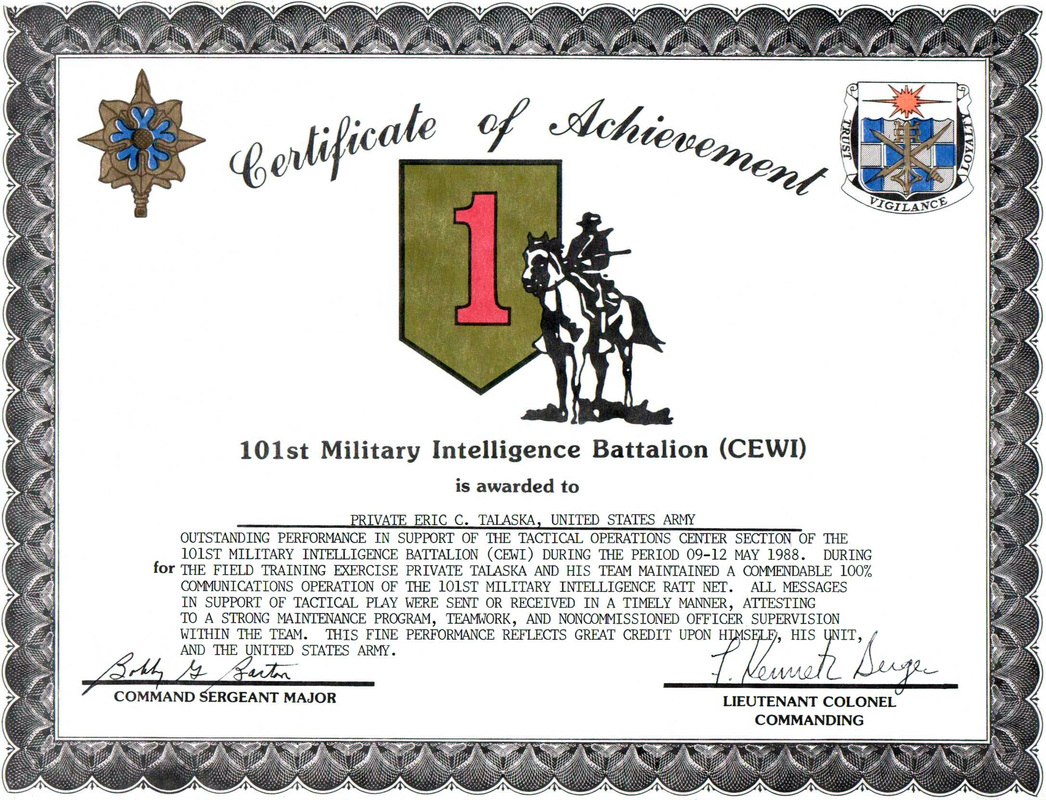 101st Military Intelligence Battalion (CEWI) Certificate of Achievement - Eric Talaska